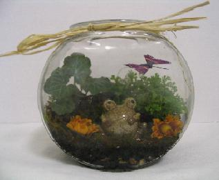 Fishbowl with Butterfly & Frog in Newton KS, Designs By John Flowers & Tuxedos, Inc