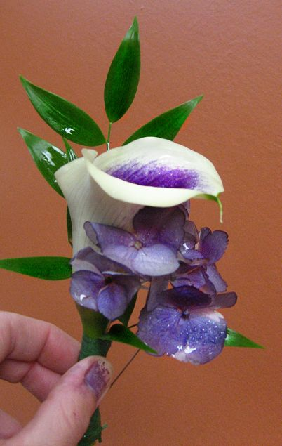 Precious Purple Boutonniere in Guelph ON, Patti's Flower Boutique