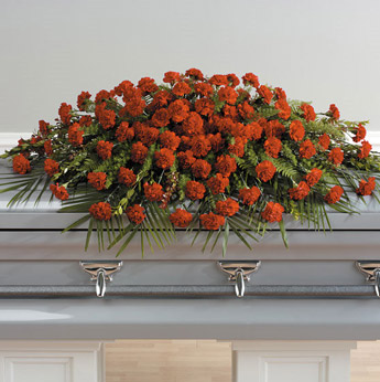 Red Carnations Casket Spray in Fredricksburg VA, Heaven Scent Florist
