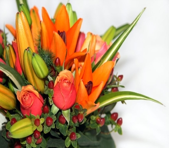 Vibrant Lilies and Roses in Corunna ON, KAY'S Petals & Plants