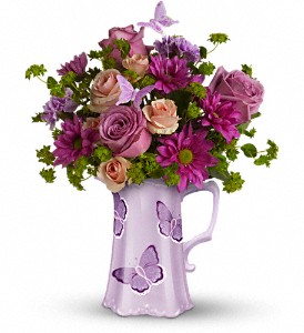 Teleflora's Butterfly Pitcher Bouquet in San Jose CA, Rosies & Posies Downtown