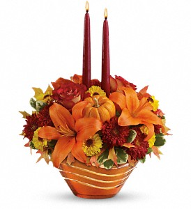Teleflora's Amber Waves Centerpiece in Kissimmee FL, Golden Carriage Florist