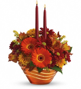 Teleflora's Autumn Artistry Centerpiece in The Woodlands TX, Rainforest Flowers