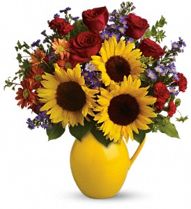 Teleflora's Sunny Day Pitcher of Joy in flower shops MD, Flowers on Base