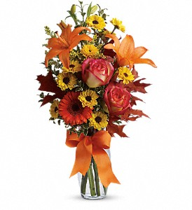 Burst of Autumn in Lewiston ME, Val's Flower Boutique, Inc.