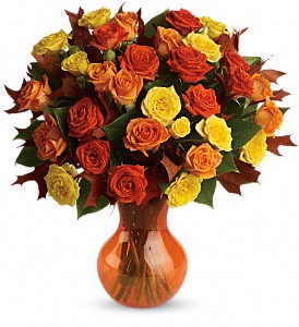Teleflora's Fabulous Fall Roses in Lewiston ME, Val's Flower Boutique, Inc.