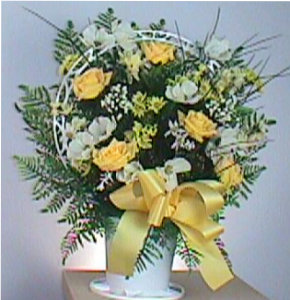 Basket of yellow roses in Camden AR, Camden Flower Shop