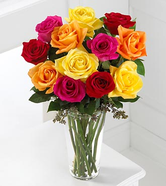 The FTD� Bright Spark Rose Bouquet� Local and Nationwide Guaranteed Delivery - GoFlorist.com