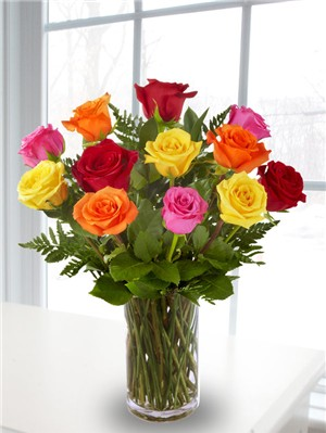 1 Dozen Mixed Long Stem Roses.                  ** in Concord NH, D. McLeod Inc.
