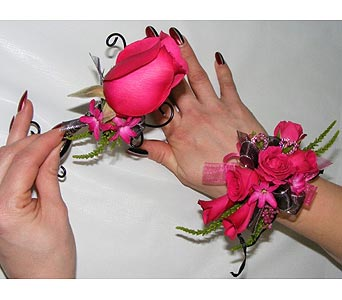 Hot Pink Corsages in San Antonio TX, Blooming Creations Florist