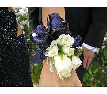 White Roses Corsage in San Antonio TX, Blooming Creations Florist