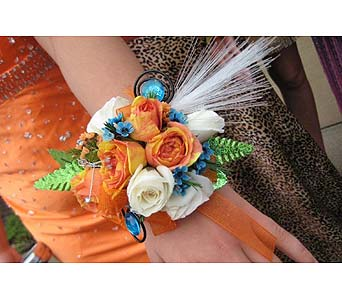 Wow Orange and White Corsage in San Antonio TX, Blooming Creations Florist
