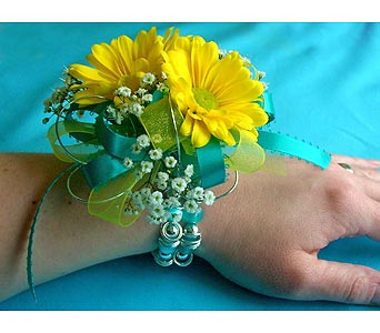 Yellow Daisy Teal Prom Corsage in San Antonio TX, Blooming Creations Florist