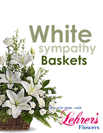 White Sympathy Basket in Denver CO, Lehrer's Flowers