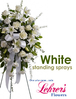 SCI White Standing Spray in Denver CO, Lehrer's Flowers