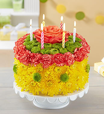 Birthday Wishes Flower Cake Yellow-Large in El Cajon CA, Conroy's