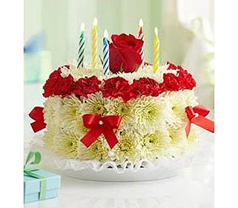 RED TRIM FLORAL BIRTHDAY CAKE in New Paltz NY, The Colonial Flower Shop