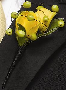 Berry Yellow Boutonniere in Perrysburg & Toledo OH - Ann Arbor MI OH, Ken's Flower Shops