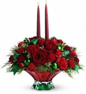 Teleflora's Joyful Christmas Centerpiece in Grass Lake MI, Designs By Judy