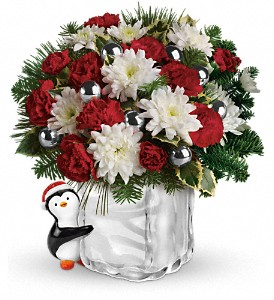 Teleflora's Send a Hug Penguin Bouquet in Charlotte NC, Wilmont Baskets & Blossoms