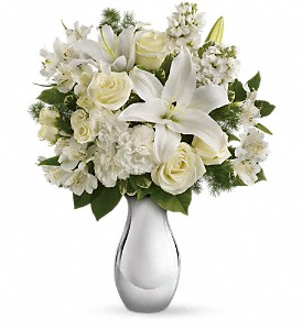 Teleflora's Shimmering White Bouquet in Oakland MD, Green Acres Flower Basket