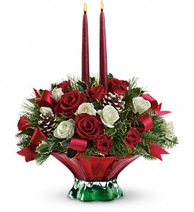 Teleflora's Colors of Christmas Centerpiece in Metairie LA, Golden Touch Florist