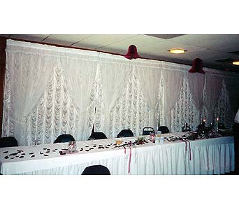 Ruffel/Sheer Backdrop Panels in Grand Island NE, Roses For You!
