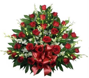Roses and Dendrobium Sympathy Basket in Indianapolis IN, Berkshire Florist
