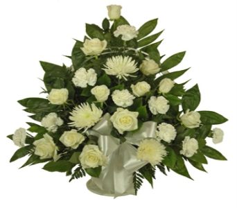 White Roses and Carnations Sympathy Basket  in Indianapolis IN, Berkshire Florist