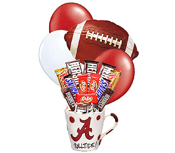 Designer Alabama Football Candy Bouquet in Birmingham AL, Norton's Florist