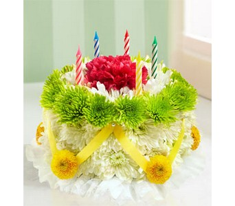 Birthday Flower Cake � - Green and Yellow  in Concord CA, Jory's Flowers