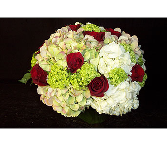 Red Roses & White Hydrangeas Combo in New York NY, Fellan Florists Floral Galleria