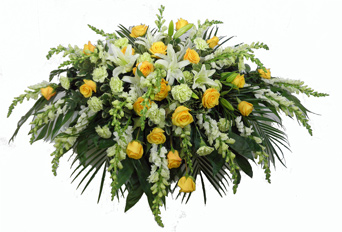 Deluxe Yellow Casket Spray in Clarks Summit PA, McCarthy-White's Flowers