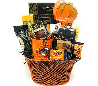 GF157 ''OSU Harvest''  Gift & Gourmet Basket in Oklahoma City OK, Array of Flowers & Gifts