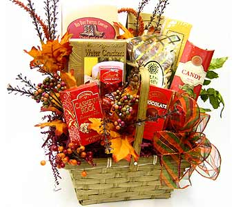 """Harvest Wishes"" Sweets & Treats Basket in Oklahoma City OK, Array of Flowers & Gifts"