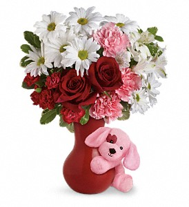 Send A Hug Puppy Love Bouquet with Red Roses in Darlington SC, Flower Basket By Becky
