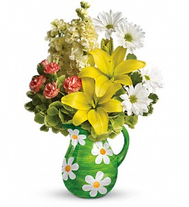 Teleflora's Pitcher of Spring Bouquet in San Marcos CA, Angel's Flowers