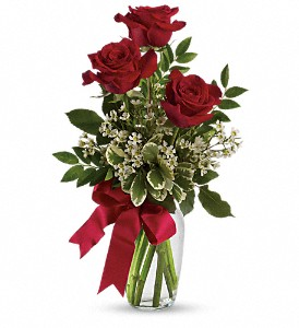Thoughts of You Bouquet with Red Roses in Eugene OR, Dandelions Flowers