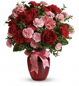 Dance with Me Bouquet with Red Roses in Redwood City CA, A Bed of Flowers