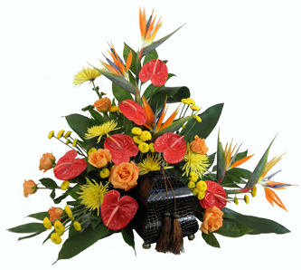 Tropical Paradise Cremation Setting in Raleigh NC, Fallon's Flowers