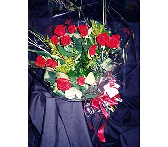 1 Dz Red Roses, Handtied & wrapped in Cello in Surrey BC, La Belle Fleur Floral Boutique Ltd.