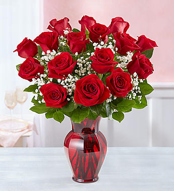 Blooming Love� Premium Red Roses in Red Vase in El Cajon CA, Conroy's Flowers
