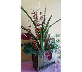 Anthurium and red dendrobium 35Hx17W in Rowland Heights CA, Charming Flowers