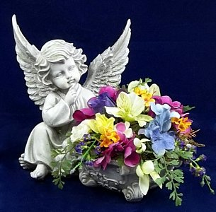 Angel with Urn and Flowers in Indianapolis IN, Steve's Flowers and Gifts