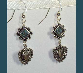 Steel Blue Swarovski Crystal and Heart Earrings in Lawrence KS, Englewood Florist