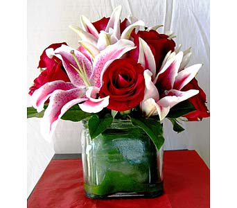 Red Rose And Lily Cube Bouquet in San Diego CA, The Floral Gallery