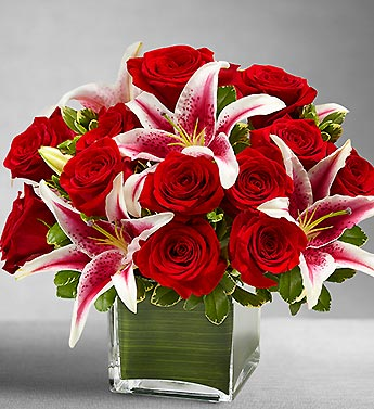 Rose and Lily Cube Bouq in Mooresville NC, All Occasions Florist & Boutique<br>704.799.0474