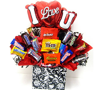 "CB280   ""I Love You"" Candy Bouquet in Oklahoma City OK, Array of Flowers & Gifts"