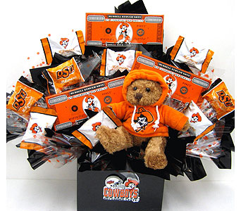CBOSU17 ''Sweet OSU Fan'' Candy Bouquet w Bear in Oklahoma City OK, Array of Flowers & Gifts