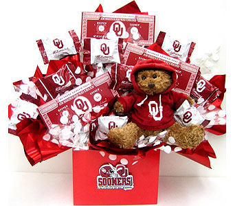 CBOU19 ''Beary Chocolate'' OU Candy Bouquet w Bear in Oklahoma City OK, Array of Flowers & Gifts